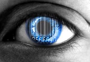 Human eye with barcode - Big data concept